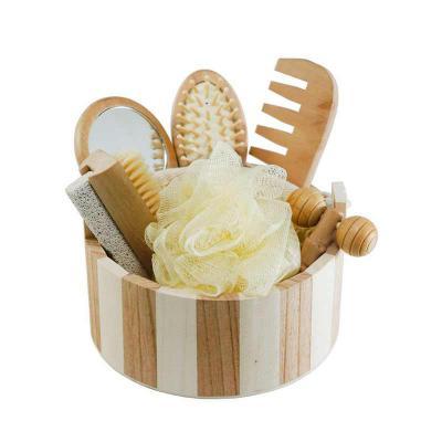 Kit banho em madeira 7 peças - SOMA Brindes
