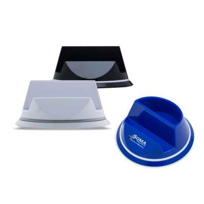 soma-brindes - Suporte giratório para celular com porta clips de material plástico colorido.