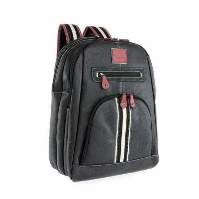 Bennemann Artefatos de Couro - Mochila com três divisórias, bolso de zíper com bolso para notebook 15.6 polegadas, bolso de tela carregadores, porta cartão e porta canetas em couro....