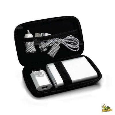Kit de carregadores contendo 01 power bank 6000mah + 01 adaptador veicular + 01 adaptador residen...
