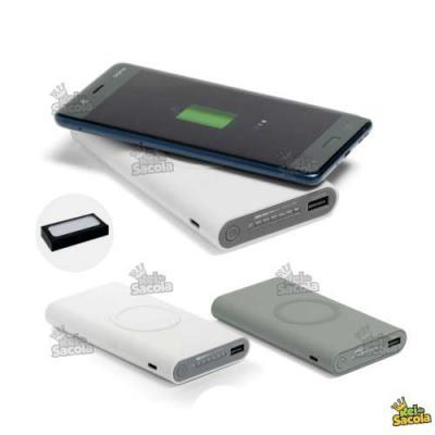 Rei da Sacola - Bateria portátil wireless. ABS, acabamento emborrachado, carregamento do dispositivo por indução, bateria de lítio capacidade: 11.000 mAh. com entrada...