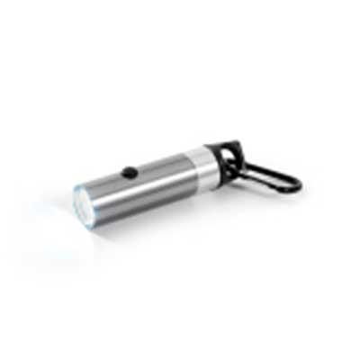 QI Brindes - Lanterna. Alumínio. Com 6 LEDs, abridor de garrafas e mosquetão. Incluso 2 pilhas CR2032. ø25 x 102 mm