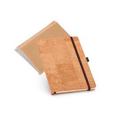 Caderno capa dura. Cortiça. Com porta esferográfica e 80 folhas não pautadas cor marfim. Fornecid...