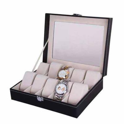 Caixa estojo porta 10 relógios Organizador luxo pespontado Tampa com visor em vidro ! Medidas: 26...