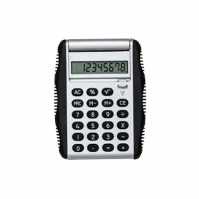 """qi-brindes - Calculadora plástica de 8 dígitos com bordas emborrachadas em relevo. Possui compartimento flexível, basta puxar """"botão"""" para baixo que a tampa protet..."""