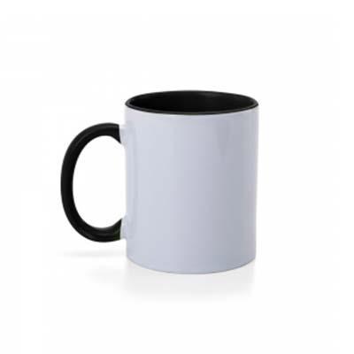QI Brindes - Caneca de cerâmica 350ml branca com pegador e parte interna colorida.  Medidas aproximadas para gravação (CxD):  9 cm x 7 cm  Tamanho total aproximado...