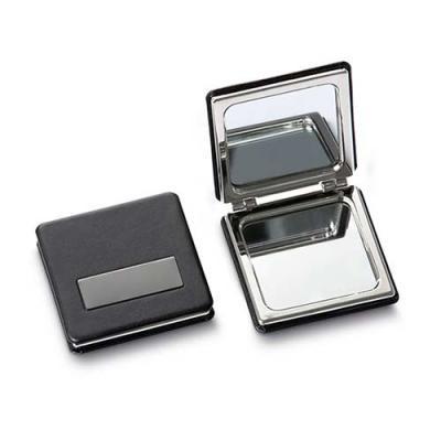 QI Brindes - Espelho de bolsa em metal acabamento em couro sintético