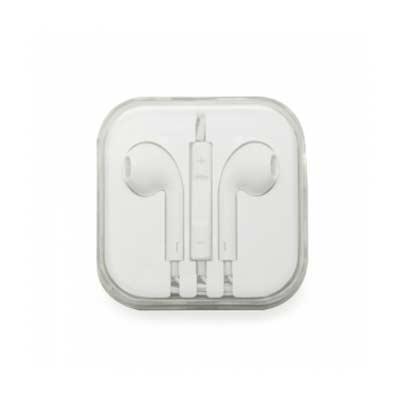 Fone de ouvido estéreo com microfone e controle de volume. Fone de ouvido plástico na cor branca,...