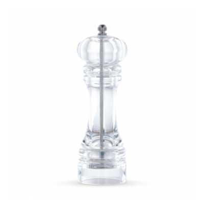 Moedor de pimenta em acrílico translúcido, possui pino de alumínio superior(basta desrosquear par...