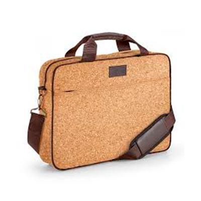 Pasta para notebook. Cortiça. Compartimento forrado e almofadado, com divisória almofadada para notebook até 15.6''. Bolso frontal. Alça de ombro ajus...