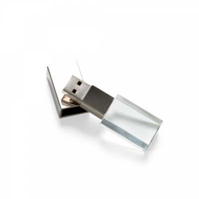qi-brindes - Pen drive 4GB de vidro com tampa plástica prata espelhada.  Medidas aproximadas para gravação (CxD):  1,7 cm x 2,9 cm  Tamanho total aproximado (CxD):...
