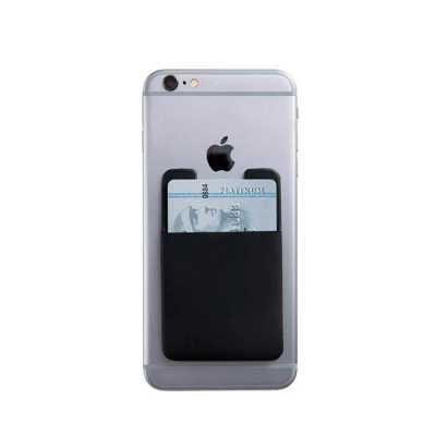 qi-brindes - Porta cartões para celular em poliéster com adesivo.  • Altura: 90mm  • Largura: 58mm