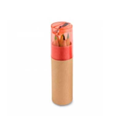 qi-brindes - Caixa de cartão com 6 mini lápis de cor. Cartão e plástico. Com apontador. ø26 x 103 mm