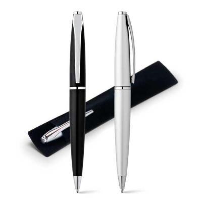 QI Brindes - Esferográfica. Metal. 1,5km de escrita. Incluso embalagem de veludo. ø12 x 135 mm | Embalagem de veludo: 160 x 30 mm