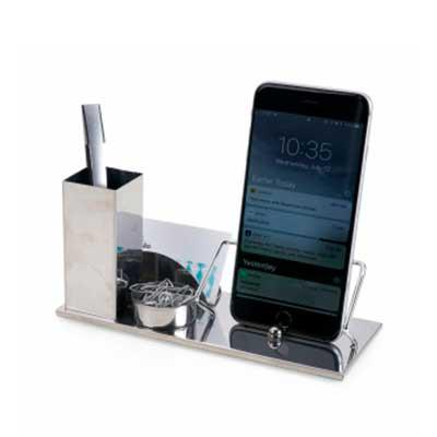 Kit escritório 4 em 1. Material inox espelhado, suporte para cartões, canetas, clips e celular. M...
