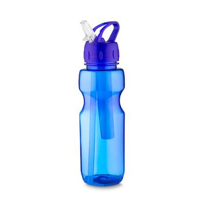 qi-brindes - Garrafa plástica 700 ml com porta gelo e canudo