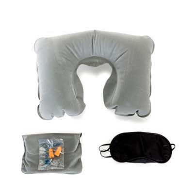 tiff-grafica - Kit viagem com 3 peças, contém: travesseiro inflável(revestido de veludo), máscara para olhos de cetim(revestido com espuma) e um par de protetor auri...