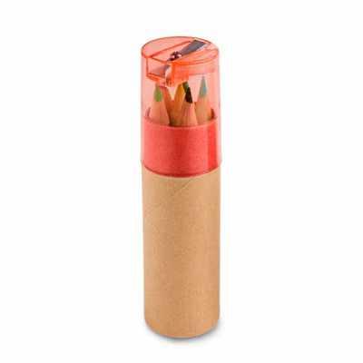 Tubo de papel Kraft contendo 6 mini lápis de cor com tampa sendo um apontador. Personalização Col...