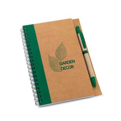 tiff-grafica - Caderno Ecológico Personalizado com capa dura em papel Kraft. Miolo com 60 folhas não pautadas em papel reciclado. Incluso esferográfica com tubo em p...