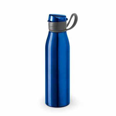- Squeeze em Alumínio com capacidade de 650 ml com alça emborrachada para segurar e tampa. Personalização sugerida: Laser ou Silkscreen.