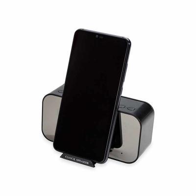 Caixa de Som Multimídia com Relógio e Suporte para Celular Personalizado