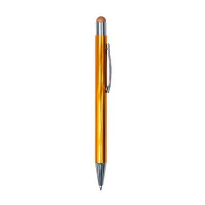 """Tiff Gráfica - Caneta metal touch com detalhes prata. Clip metálico prata com """"anel"""" superior e borracha touch colorida (mesma cor da caneta). Aciona por clique. Um..."""