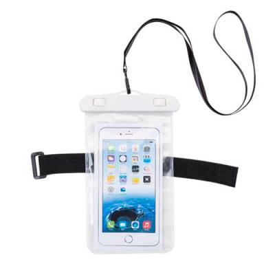 - Capa impermeável universal para smartphones com cordão de nylon de tamanho regulável, fabricado em PVC. Personalização em Silkscreen.