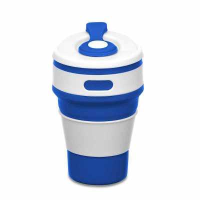 """tiff-grafica - Copo retrátil 350ml de silicone, livre de BPA. Tampa plástica de encaixe com abertura para o bocal, acompanha """"luva"""" plástica branca, evitando queimar..."""