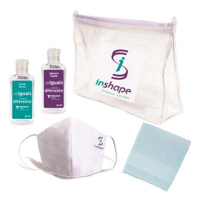 Kit Higiene com Álcool gel, Máscara, Sabonete Líquido e Toalha de mão
