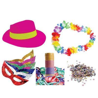 Kit Carnaval com 5 peças em sacola de TNT Personalizada.  Contém: Chapéu Plástico, Máscara em papelão, Colar Havaiano, 01 saquinho de Confete com 150g... - Tiff Gráfica
