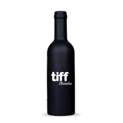 Kit vinho formato por garrafa em plástico com 3 peças, material plástico resistente e revestido i...