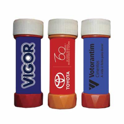 Tiff Gráfica - Bolha de Sabão Personalizada - Tamanho do Tubo: 11,3 cm altura x 3,8 cm diâmetro, em plástico diversas cores. Capacidade 60 ml. Sua marca proporcionan...