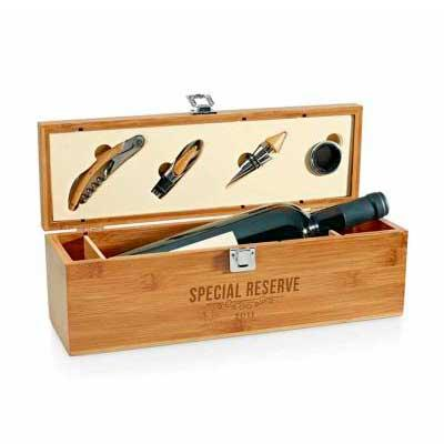 Conjunto para vinho Personalizado com caixa de madeira