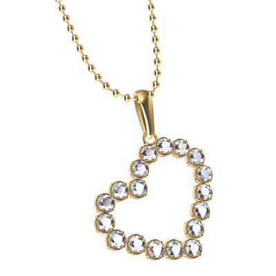 Fox Brindes que Valem Ouro - Colar Coração com cristais importados com embalagem personalizada com sua marca ou evento, banhado  em ouro18K, Prata, com acabamentos e cores variada...