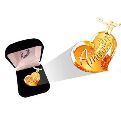 Fox Brindes que Valem Ouro - Pingente Coração e caixinha de veludo personalizada