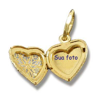 fox-brindes-que-valem-ouro - Pingente Coração Porta Foto com embalagem personalizada com sua marca ou evento, banhado  em ouro18K, Prata, com acabamentos e cores variadas como gra...