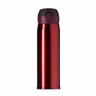 Garrafa térmica 400ml de metal colorida com botão e válvula para abertura. Possui um sistema de t...