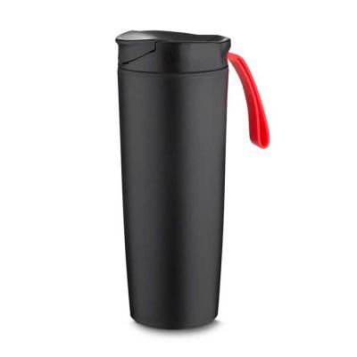 maxim-brindes - Copo plástico anti queda 400ml com alça emborrachada colorida. Tampa rosqueável com abertura de bocal, parte inferior do produto possui ventosa.