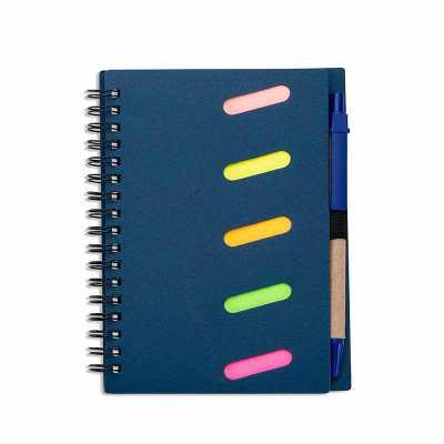 maxim-brindes - Bloco de anotações ecológico com caneta ecológica e autoadesivos. Capa kraft com detalhes vazados, possui cinco blocos autoadesivos coloridos com 20 f...