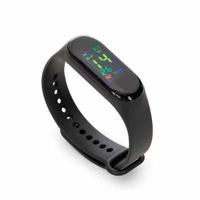 Pulseira inteligente M3. O smartwatch é um relógio fit com sensor que monitora suas atividades do dia a dia para o controle de sua saúde, tem funções... - Maxim Brindes