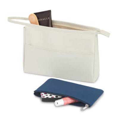 maxim-brindes - Bolsa de cosméticos microfibra com bolso fronta e bolsa multiuso - Medidas 230 x 150 x 70 mm