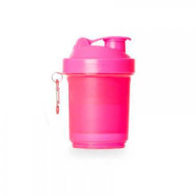 maxim-brindes - Coqueteleira plástica 400ml com porta suplementos desmontável.