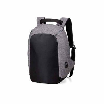 Mochila para Notebook anti furto com entrada USB, em poliéster e com detalhes em Nylon