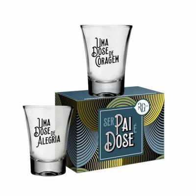 RG Ideias - Duo de copos aperitivos / copos para dose, em vidro, 60ml cada. Gravação em 1 cor com arte à escolher. Incluso caixa totalmente personalizável.  Valor...