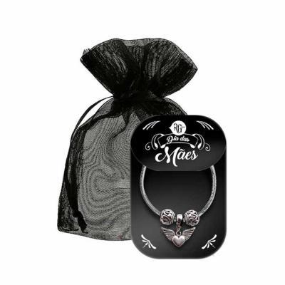 RG Ideias - Pulseira de berloques em níquel. Incluso 3 pingentes por pulseira. Embalagem com tag personalizado e sacolinha de organza.
