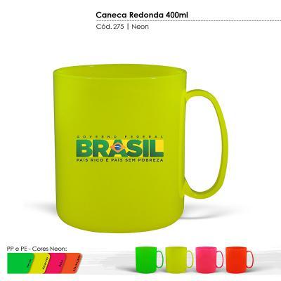 Maiz Brindes - Caneca Redonda Cores Neons 400ml • Capacidade 400ml • Material plástico especial rígido • Pode ser levada ao micro-ondas e lava-louças • Cores Neon: v...