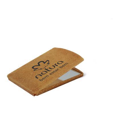 maiz-brindes - Espelho de Bolsa Ecológico de Fibra de Coco ou Madeira e Tampa de Proteção Artiulada • Material composto com de fibra de coco ou madeira • Cores Coco...