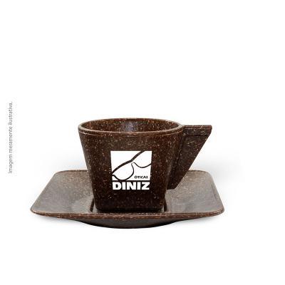 maiz-brindes - Xicara de Café com Pires 50ml • Capacidade de 50 ml • Material composto de fibra de coco ou madeira • Cores: Coco ou Madeira  Frete Grátis Rodoviário...