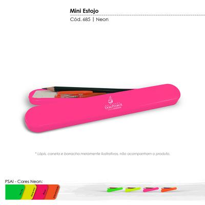 maiz-brindes - Estojo Escolar Cores Neons • Material plástico especial resistente a impacto • Cores Neons: verde, amarelo, rosa, laranja * Frete Grátis