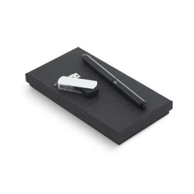 Marketing Brindes - Conjunto esferográfica e pen drive. Esferográfica NEO em alumínio com ponteira touch em silicone. Pen drive em ABS com clipe em alumínio. Capacidade:...